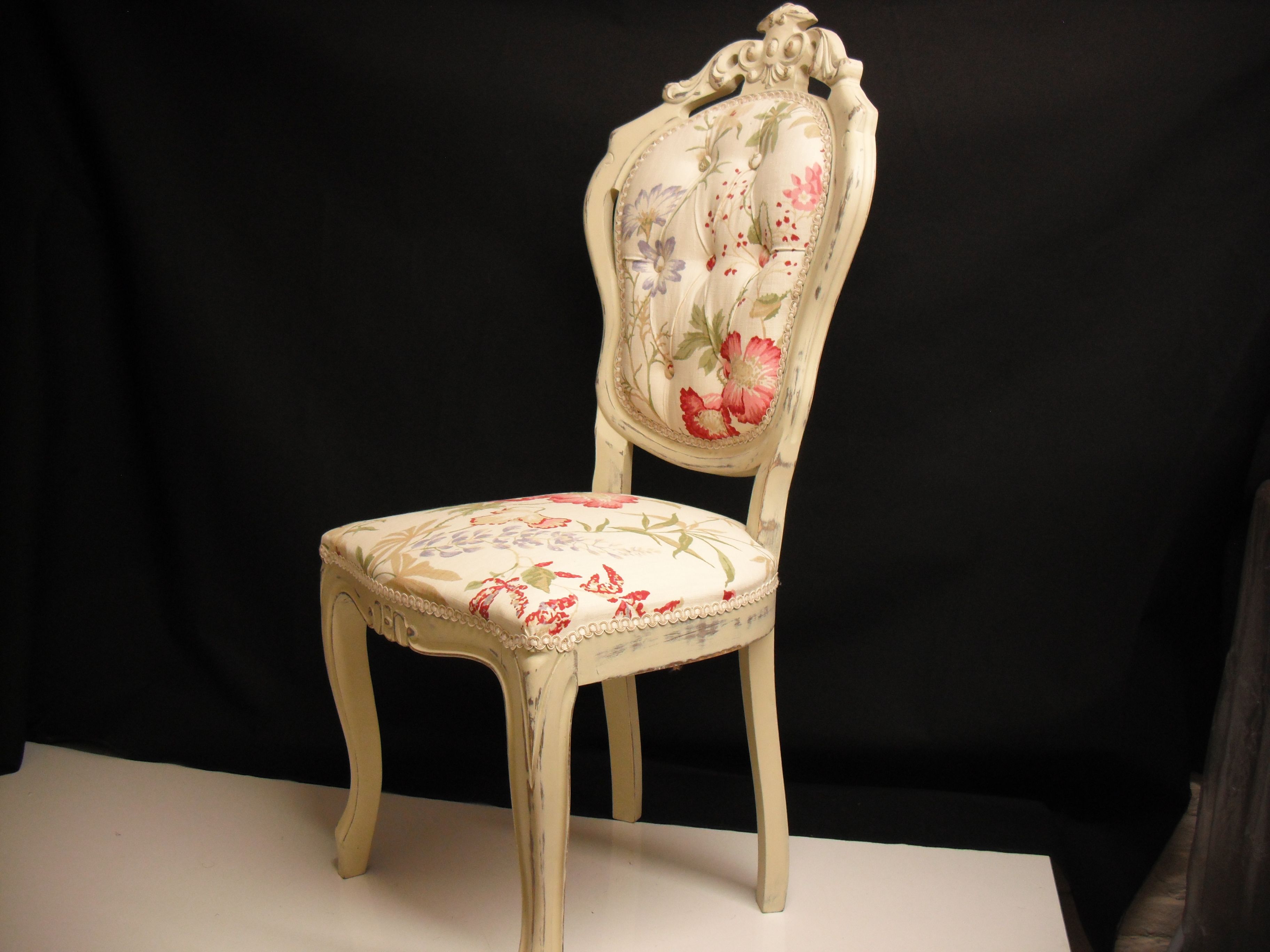 Floral Laura Ashley recover for Italian carved chair
